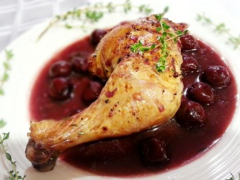 Odessa style chicken in cherry sauce