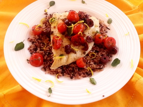 baked halibut with tomato olive tapende