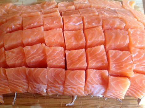 Cut salmon into cubes